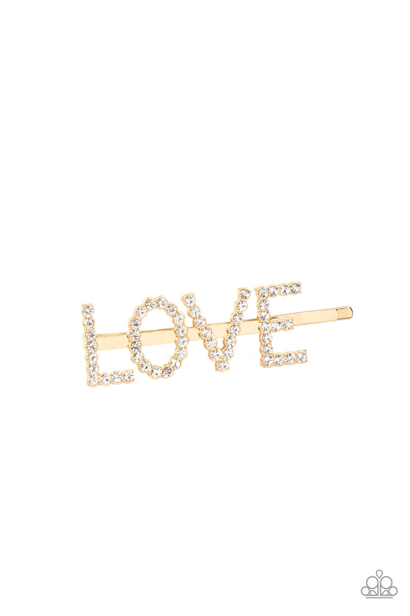 All You Need Is Love - Gold & White Rhinestone
