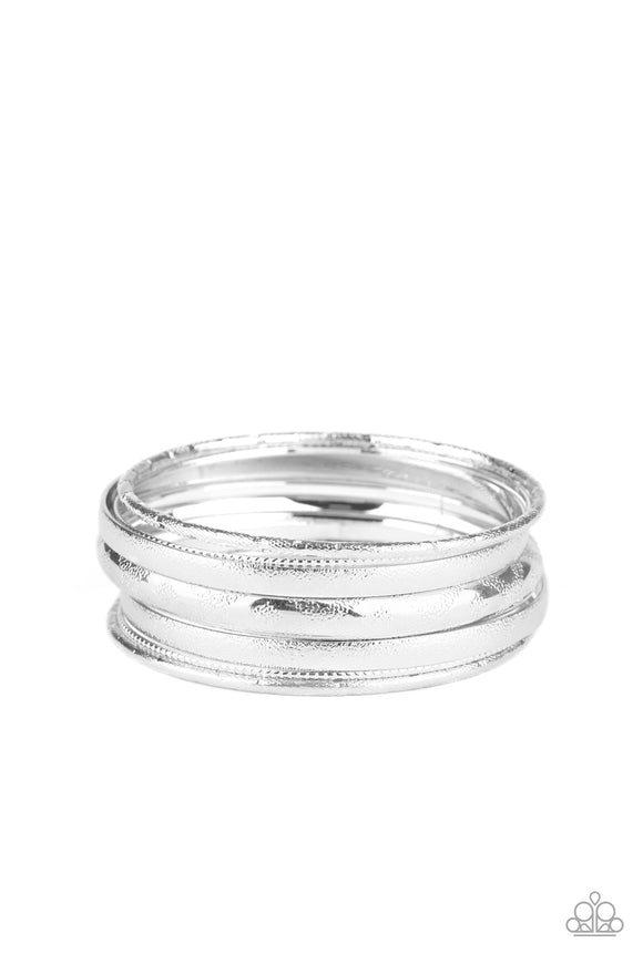 Basic Bauble - Silver Bangle Bracelets - Paparazzi Accessories