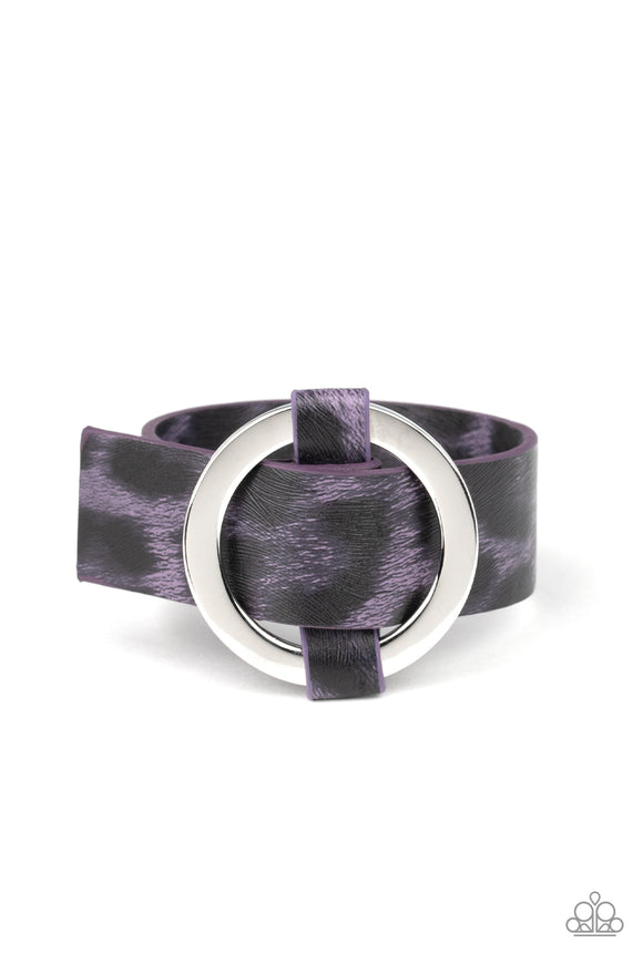 Jungle Cat Couture - Purple Animal Print Bracelet - Paparazzi Accessories
