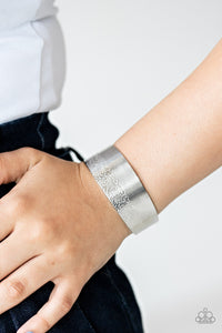 Mixed Vibes - Silver Hammered & Engraved Cuff Bracelet - Paparazzi Accessories