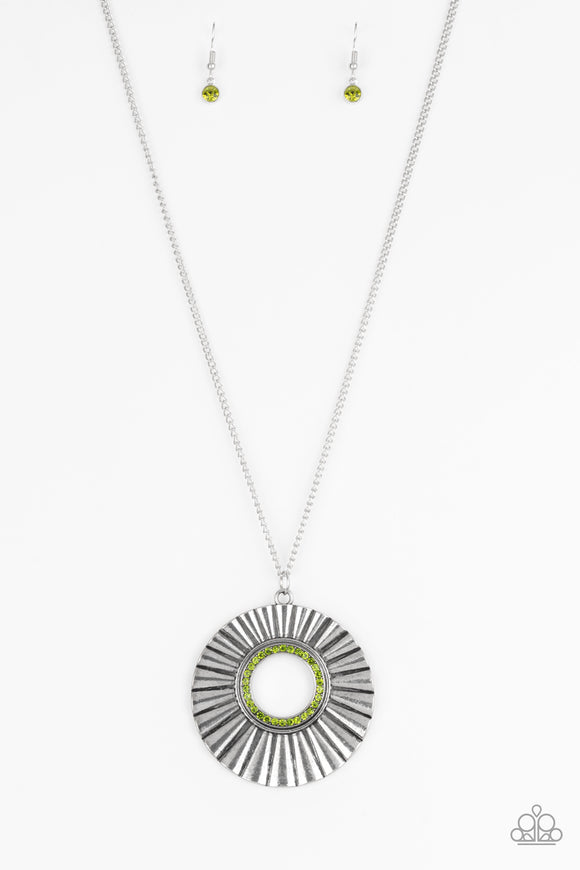 Chicly Centered - Green Rhinestone Necklace - Paparazzi Accessories