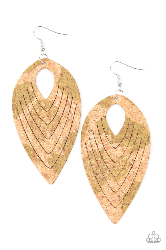 Cork Cabana - Green Cork Earrings - Paparazzi Accessories