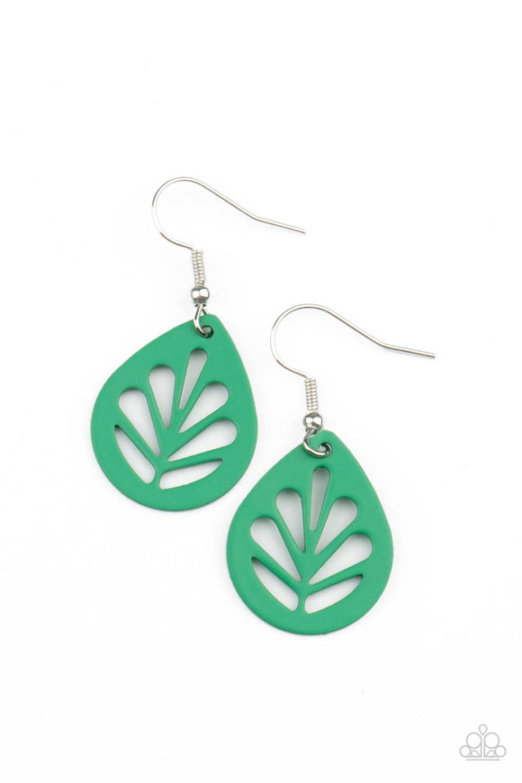 LEAF Yourself Wide Open - Green Leaf Earrings - Bling By Danielle Baker