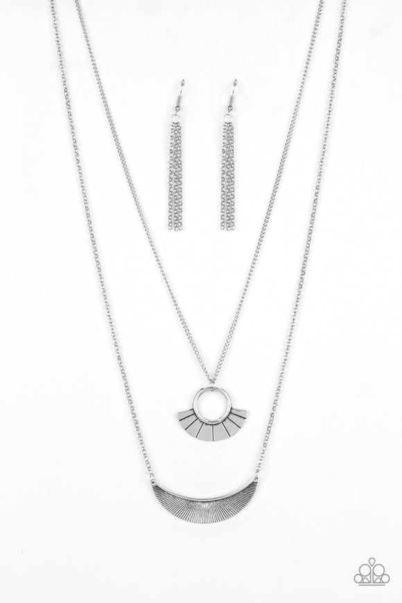 Tribal Trek - Silver Tribal Necklace - Paparazzi Accessories