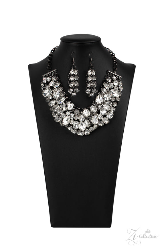 Ambitious 2020- Paparazzi Exclusive Zi Collection Gunmetal & Rhinestone Necklace - Paparazzi Accessories