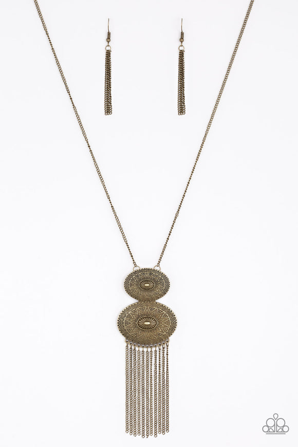 Sun Goddess - Brass Sunburst Necklace - Paparazzi Accessories