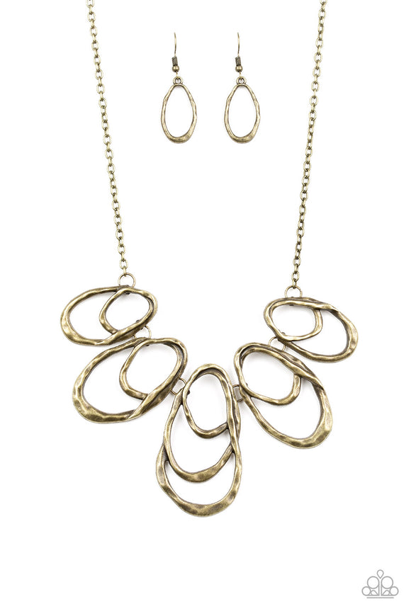 Terra Storm - Brass Hammered Necklace - Paparazzi Accessories