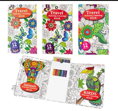 Adult Travel Colouring Zentangle activity Book with pencils