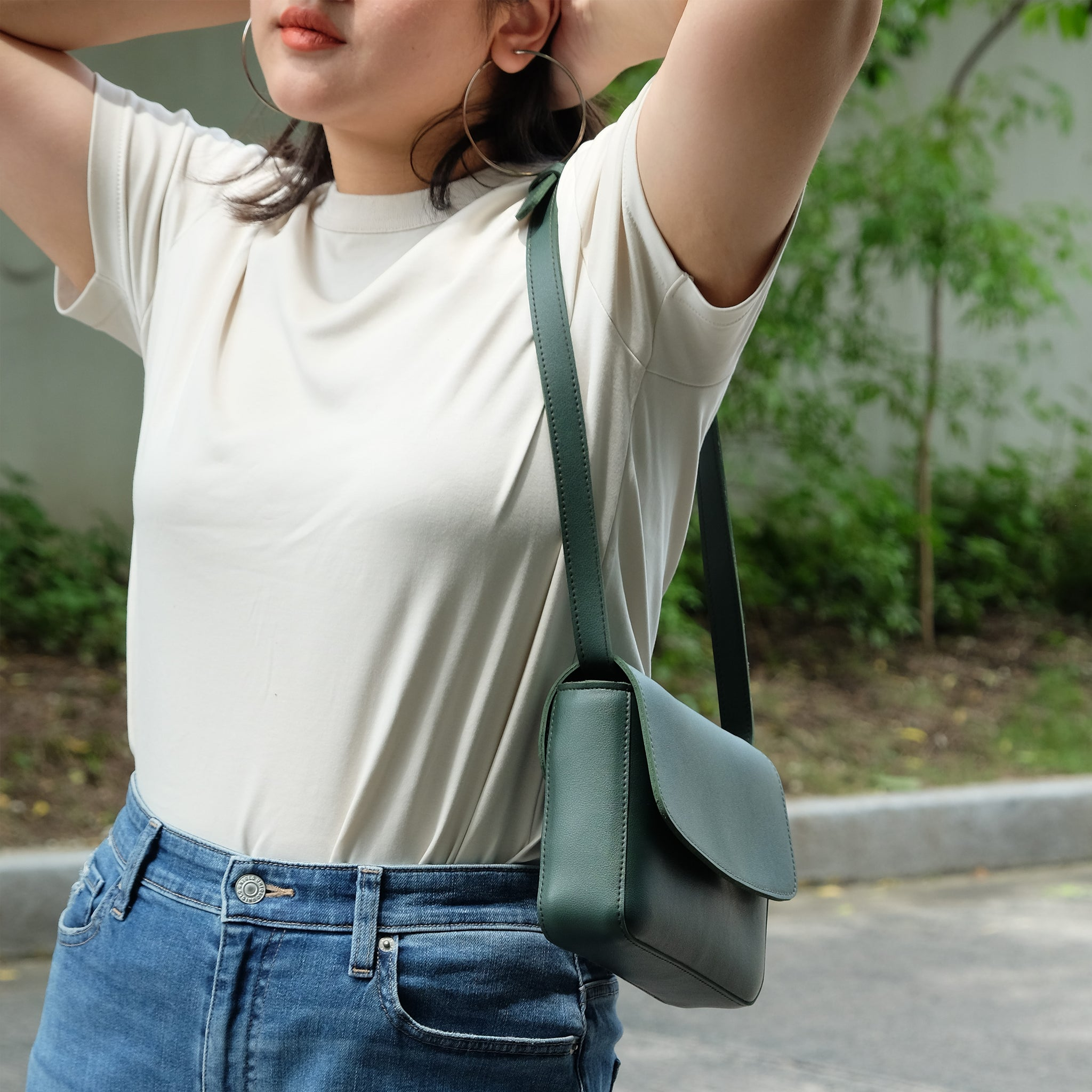 Astraea Convertible Sling in Moss Green