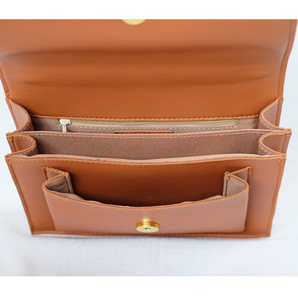 Zoe Mini Accordion Sling in Tan