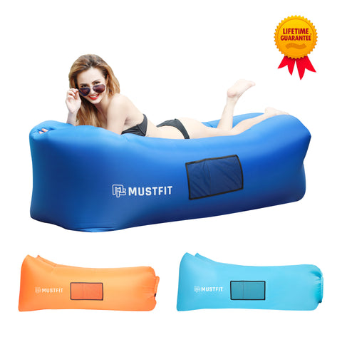 Inflatable Lounger Bag Hammock Air Sofa and Pool Float 2017 Upgraded (Dark Blue)