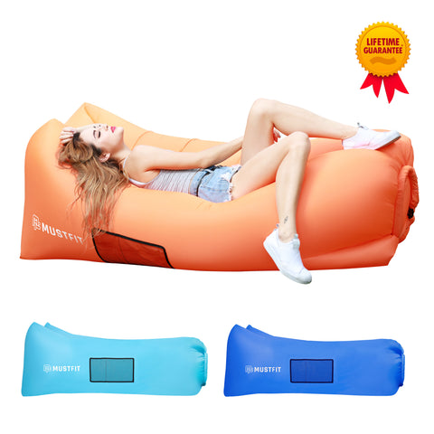 Inflatable Lounger Bag Hammock Air Sofa and Pool Float 2017 Upgraded (Orange)