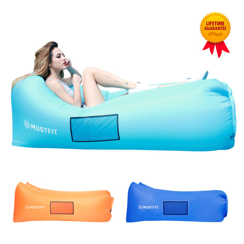 Inflatable Lounger Bag Hammock Air Sofa and Pool Float 2017 Upgraded (Sky Blue)