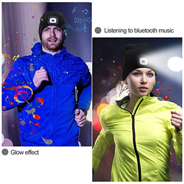 LED Bluetooth Music Beanie with Lighting & Flashing Modes - Unisex