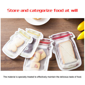 Fast and Good Zipper Reusable Food Storage Snack Sandwich Bags-Mason Jar Shape