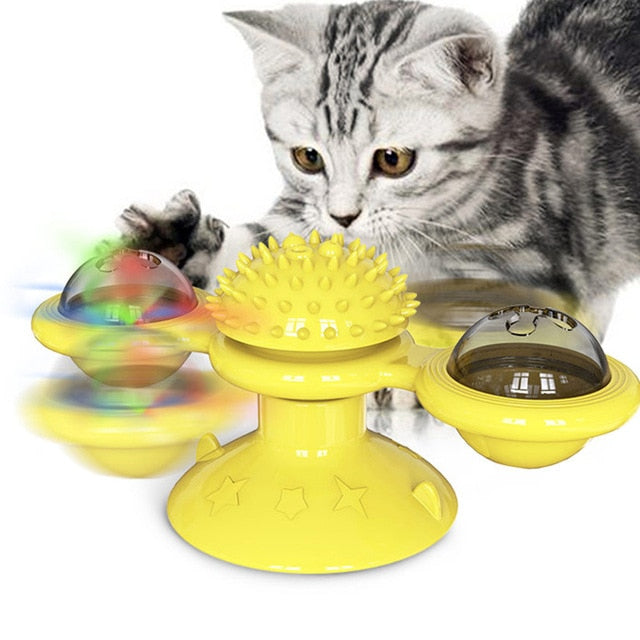 Windmill Cat Toy LED Turntable    Training, Toothrush, Scratching and Entertaining Toy