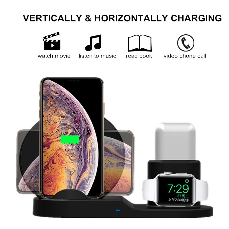 3 in 1 Fast Wireless Charger Station  For iPhone XR XS Max 8 for Apple Watch 2 3 4 and  AirPods