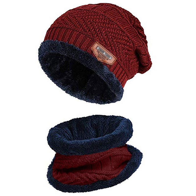 Thicken Fleece Winter Beanie with Scarf Set for Men and Women   Solid Knit Windproof Outdoor Ski Cap Ring Scarf