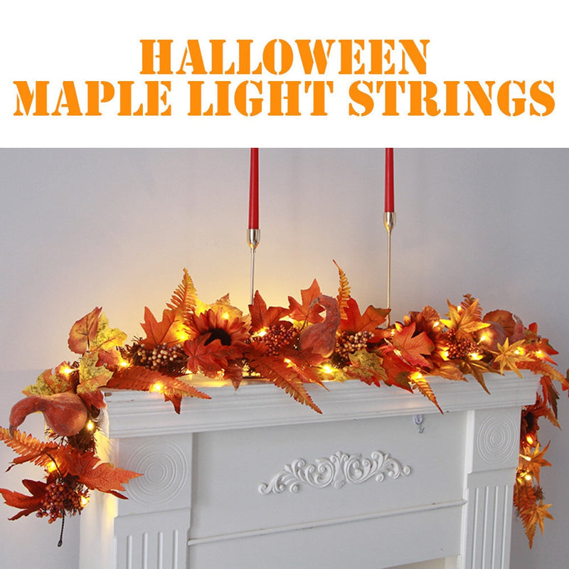 1.7M LED Lighted Fall Autumn Pumpkin Maple Leaves for Halloween and Thanksgiving