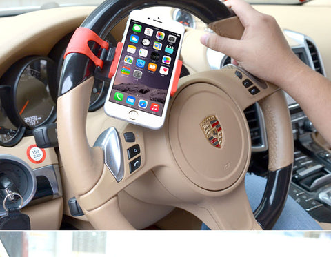 Car Steering Wheel Phone Holder Navigate Bracket Stand Case Cover For iPhone / Samsung