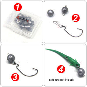 SAMS Fishing Jig Heads Sinkers Lead Weights Cheburashka for Soft Lure 10pcs - SAMSFX