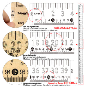 "SAMSFX Fishing Self Adhesive Measuring Fish Ruler Tape Sticker Transparent Boat Quick Measure Fish Decal 39""/100cm - SAMSFX"
