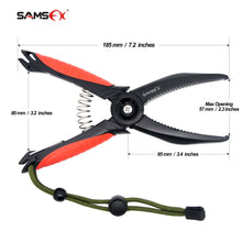 "Load image into Gallery viewer, SAMSFX ABS Floating Fish Lip Grip Gripper Gear Tool Fishing Pliers Saltwater w/ Paracord Lanyard 8"" - SAMSFX"
