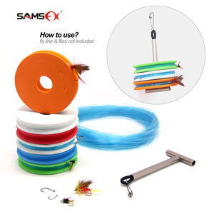 SAMSFX Fly Fishing Horizontal Tippet Holder Stack Carrier & 6PCS Rigging Foams Combo - SAMSFX