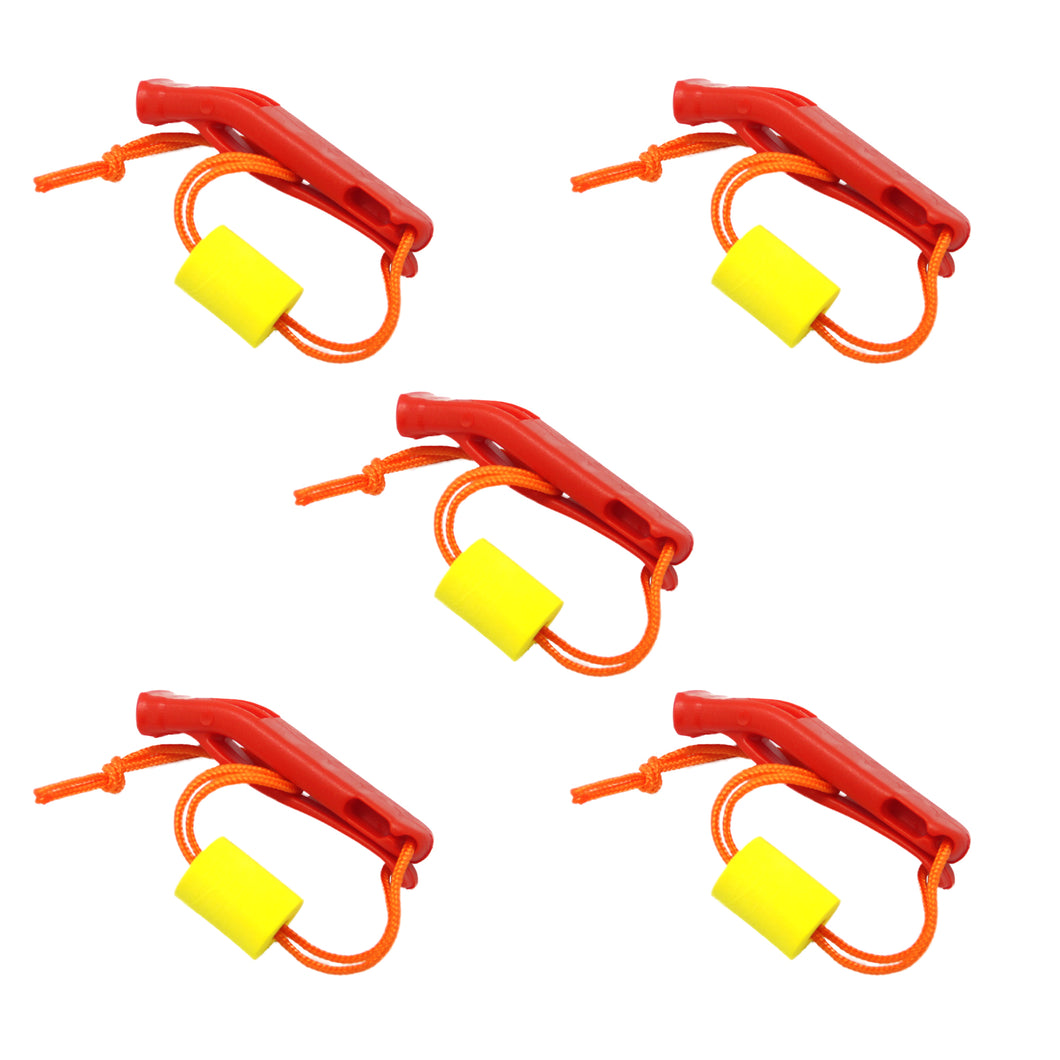 SAMSFX 5 pieces Safety Marine Whistle with Floating Lanyard for Emergency Survival Rescue - SAMSFX