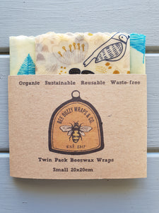 Small Twin Pack Organic Beeswax Wraps