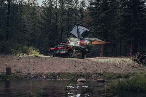 The Tacoma set up for camping