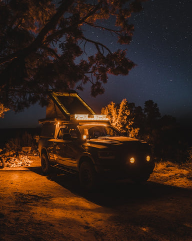Roaming Lost's 2020 RAM build lit up for the night