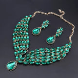 New Green Crystal Statement Necklace Earrings Se
