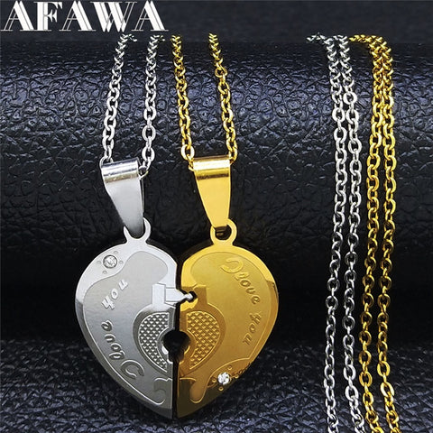 2PCS Love Couple Heart knecklace