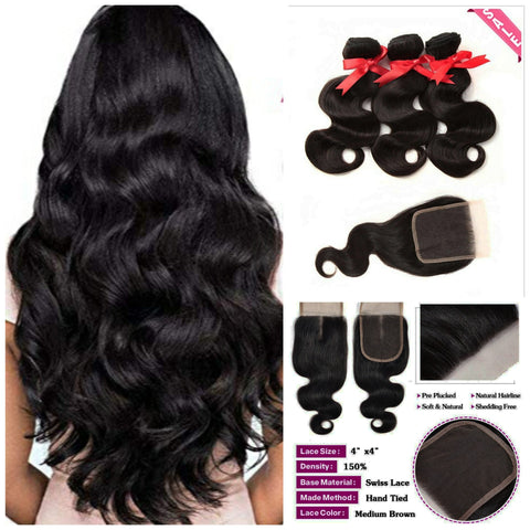 Brazilian RAW 9A BODY WAVE 3-BUNDLES W/CLOSURE