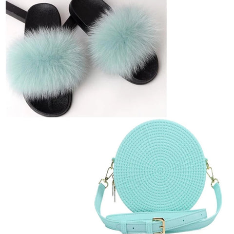 Fur Slippers Set  Jelly Purse Bags Match Sets