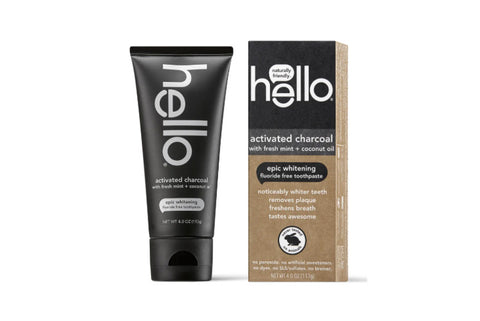 HELLO Activated Charcoal Whitening Toothpaste-Fluoride Free