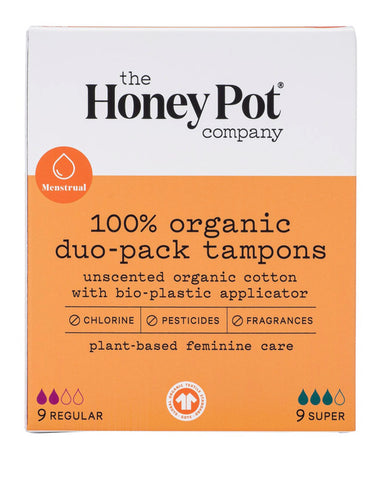 THE HONEY POT DUO-PACK WITH BIO-PLASTIC APPLICATOR 18 TAMPONS 18 TAMPONS