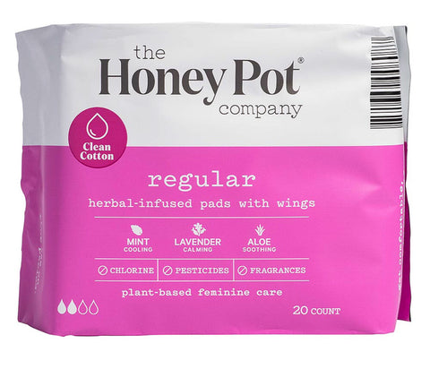 THE HONEY POT REGULAR HERBAL MENSTRUAL PADS 20 COUNT