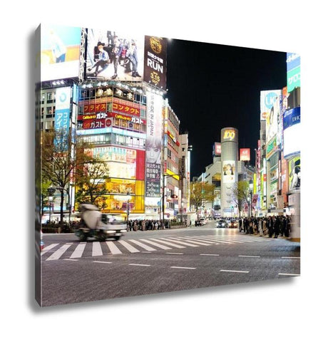 Gallery Wrapped Canvas, Tokyo Japan March 29 2016 Shibuya Crossing At Night Crowds Of People At Shibuya