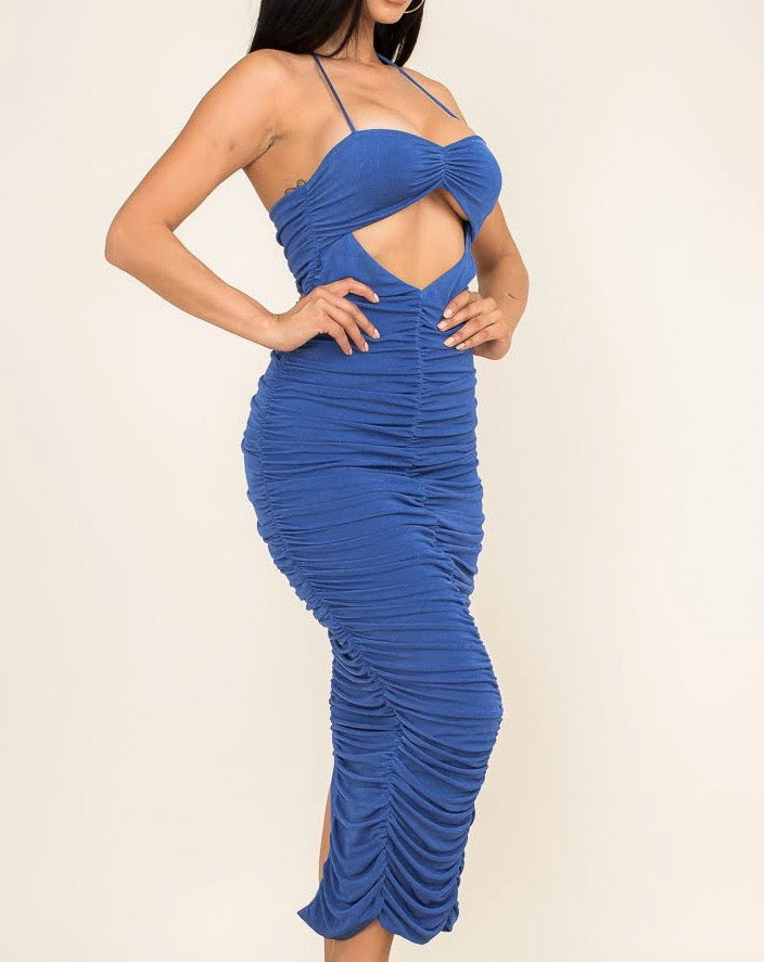 Blue Ruched Cut Out Dress