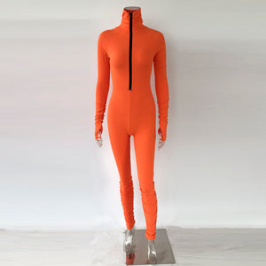 Sunny Orange Zip Up Jumpsuit
