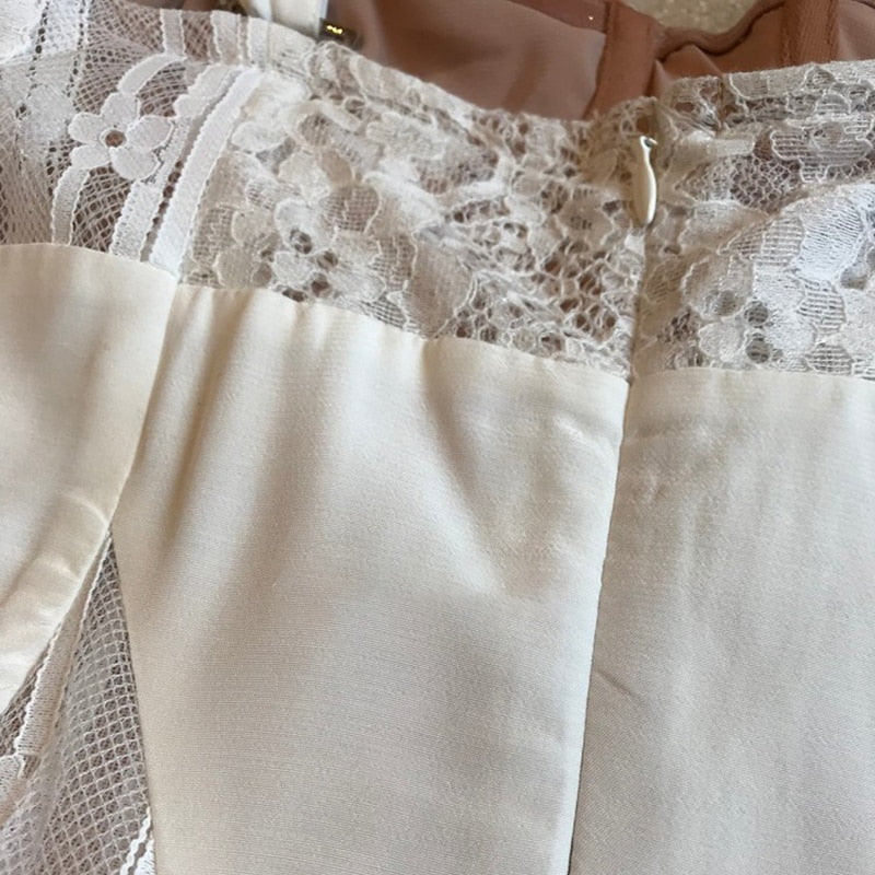 White Lace Patchwork Bustier Dress