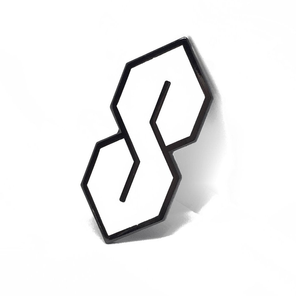 The S Thing Pin - Nickel + White