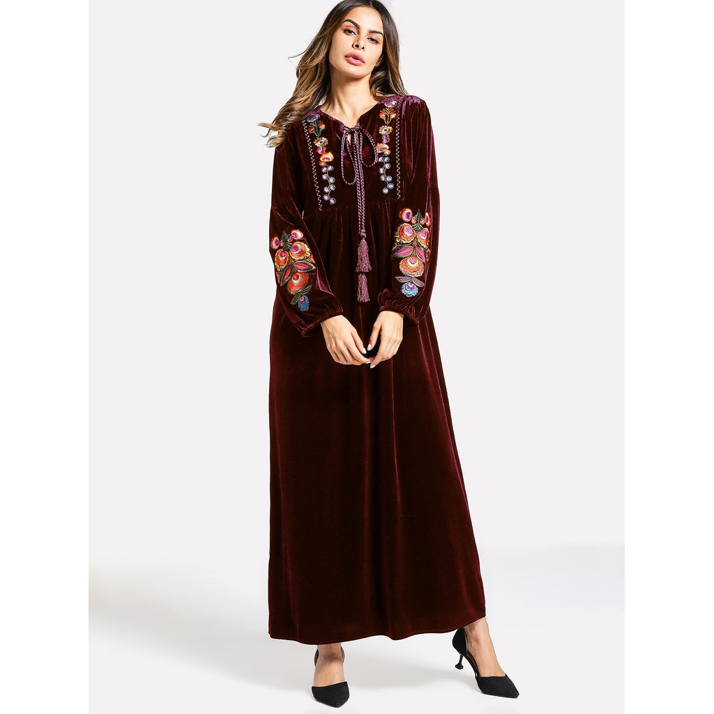 Velvet Embroidered Tunic Dress