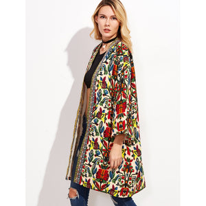 Colorful Open Front Print Jacket