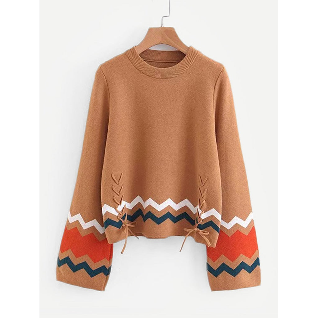 Chevron Pattern Lace Up Jumper