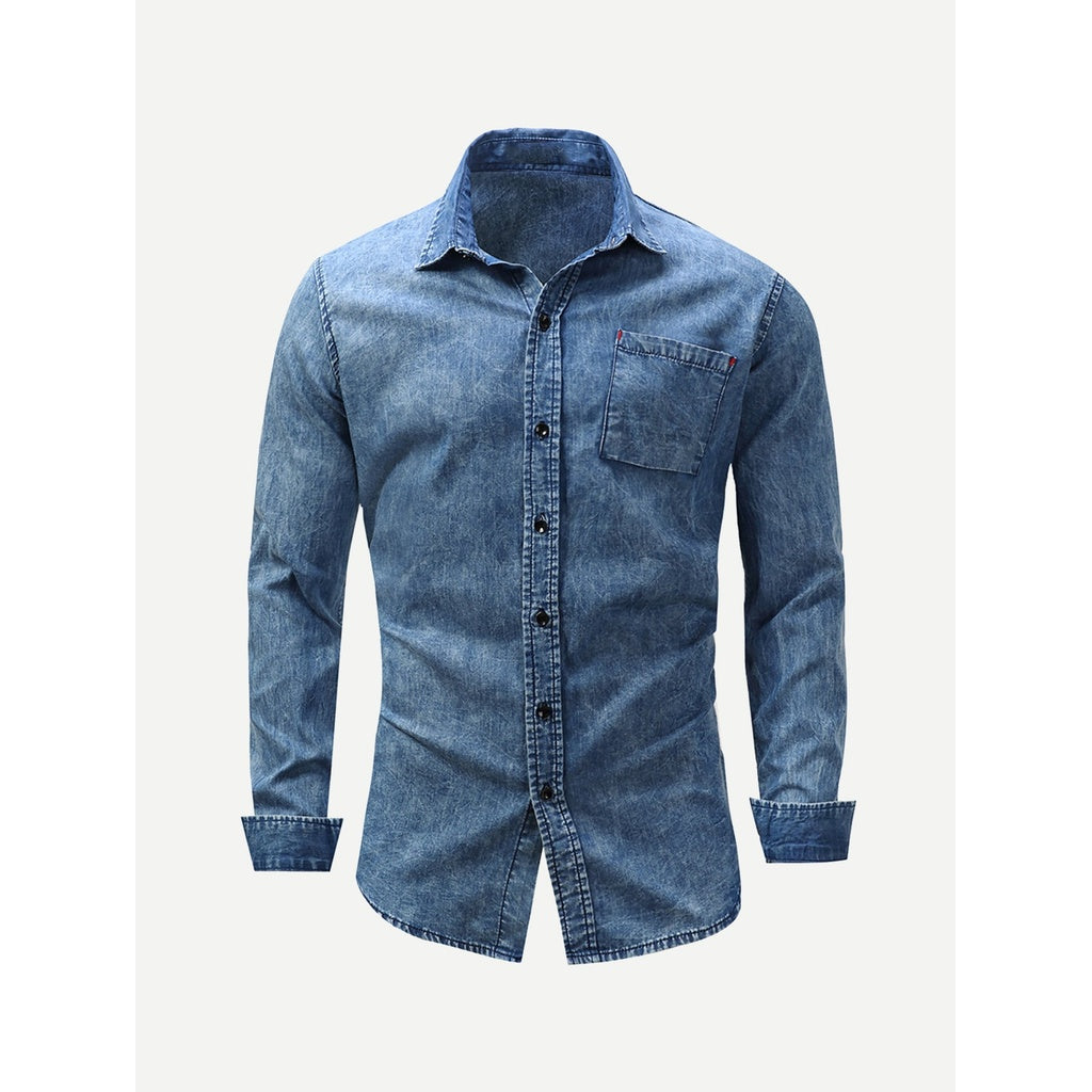 Classic Denim Shirt With Pocket Detail