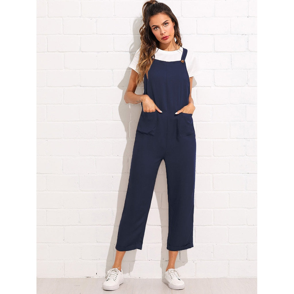 Pocket Front Pinafore Jumpsuit