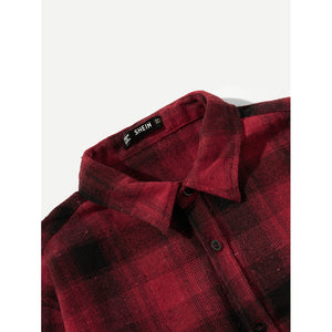 Plaid Pocket Patched Shirt